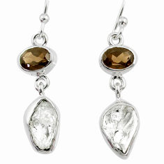 925 silver 11.71cts natural white herkimer diamond dangle earrings r65693
