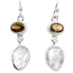 925 silver 10.97cts natural white herkimer diamond dangle earrings r65697