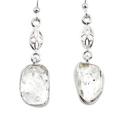 925 silver 10.97cts natural white herkimer diamond dangle earrings r65732