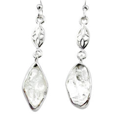 925 silver 9.97cts natural white herkimer diamond dangle earrings r65736