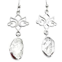 925 silver 12.24cts natural white herkimer diamond dangle earrings r65744