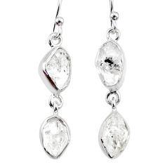 925 silver 10.99cts natural white herkimer diamond dangle earrings r65784