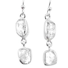 925 silver 10.97cts natural white herkimer diamond dangle earrings r65788