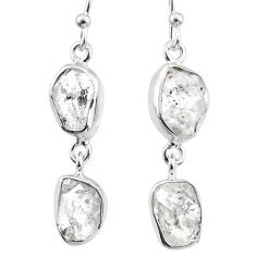 925 silver 12.17cts natural white herkimer diamond dangle earrings r65791
