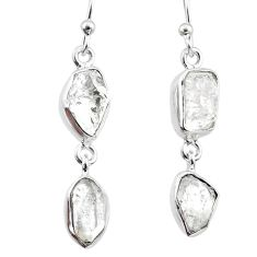 925 silver 11.20cts natural white herkimer diamond dangle earrings r65795