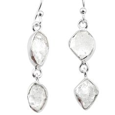 925 silver 11.41cts natural white herkimer diamond dangle earrings r65799
