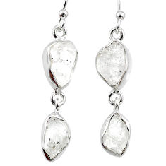 925 silver 11.64cts natural white herkimer diamond dangle earrings r65805