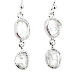 925 silver 11.64cts natural white herkimer diamond dangle earrings r65809