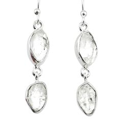925 silver 11.41cts natural white herkimer diamond dangle earrings r65812