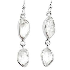 925 silver 11.61cts natural white herkimer diamond dangle earrings r65815