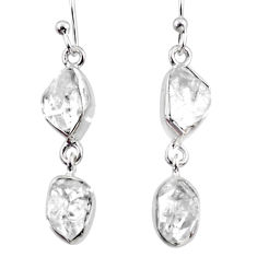 925 silver 10.42cts natural white herkimer diamond dangle earrings r65818