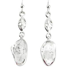 925 silver 10.32cts natural white herkimer diamond dangle earrings r69526