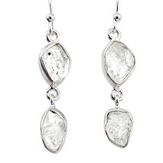 925 silver 11.57cts natural white herkimer diamond dangle earrings r69564