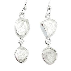 925 silver 10.71cts natural white herkimer diamond dangle earrings r69617
