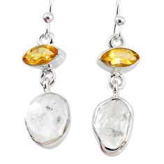925 silver 11.57cts natural white herkimer diamond dangle earrings r69620