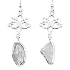 925 silver 9.25cts natural white herkimer diamond dangle earrings r73626