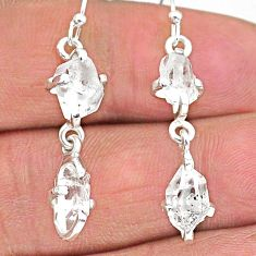 925 silver 8.42cts natural white herkimer diamond dangle earrings t14445