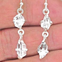 925 silver 8.09cts natural white herkimer diamond dangle earrings t14457