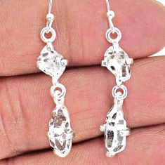 925 silver 8.53cts natural white herkimer diamond dangle earrings t14464