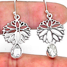 925 silver 7.72cts natural white herkimer diamond dangle flower earrings r61539