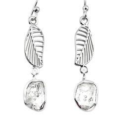925 silver 9.66cts natural white herkimer diamond deltoid leaf earrings r65770