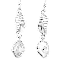 925 silver 10.32cts natural white herkimer diamond deltoid leaf earrings r69530