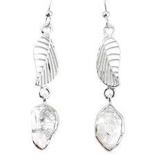 925 silver 10.76cts natural white herkimer diamond deltoid leaf earrings r69534