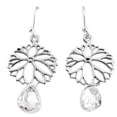 925 silver 7.24cts natural white herkimer diamond flower earrings jewelry r69517