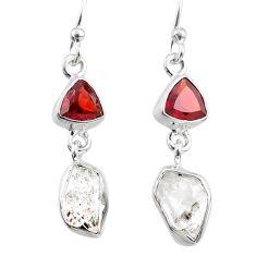 925 silver 10.72cts natural white herkimer diamond garnet dangle earrings r65675