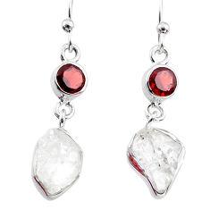 925 silver 10.65cts natural white herkimer diamond garnet dangle earrings r65679