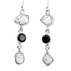 925 silver 15.97cts natural white herkimer diamond onyx dangle earrings r61524