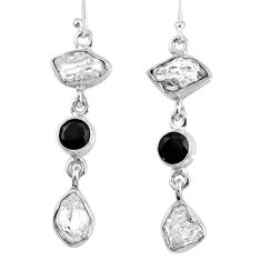 925 silver 16.43cts natural white herkimer diamond onyx dangle earrings r61528