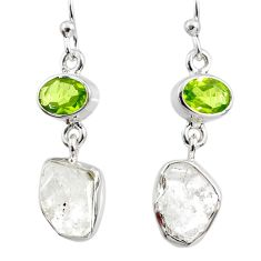 925 silver 11.66cts natural white herkimer diamond peridot earrings r65664