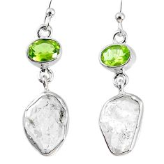 925 silver 13.09cts natural white herkimer diamond peridot earrings r69523