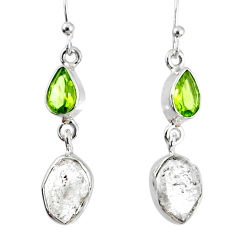925 silver 10.32cts natural white herkimer diamond peridot earrings r69555