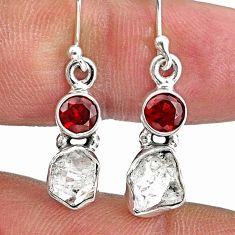 925 silver 8.49cts natural white herkimer diamond red garnet earrings r61464