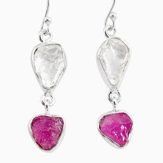 925 silver 12.58cts natural white herkimer diamond ruby raw earrings r93764