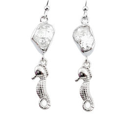 925 silver 10.03cts natural white herkimer diamond seahorse earrings r65764