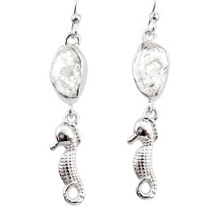 925 silver 10.32cts natural white herkimer diamond seahorse earrings r65767