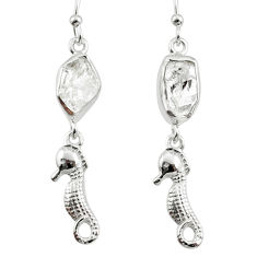925 silver 10.32cts natural white herkimer diamond seahorse earrings r65779