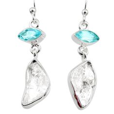 925 silver 12.10cts natural white herkimer diamond topaz dangle earrings r65684