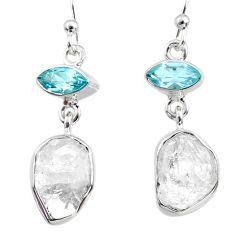 925 silver 12.10cts natural white herkimer diamond topaz dangle earrings r65690
