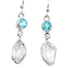 925 silver 10.72cts natural white herkimer diamond topaz dangle earrings r65700