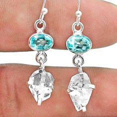 925 silver 9.96cts natural white herkimer diamond topaz dangle earrings t49805