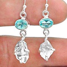 925 silver 10.88cts natural white herkimer diamond topaz dangle earrings t49832