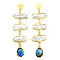 Handmade19.40cts natural white pearl 14k gold dangle earrings t16680