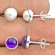 925 silver 5.46cts natural white pearl amethyst 2 pair studs earrings t50824