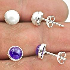 925 silver 5.06cts natural white pearl amethyst 2 pair studs earrings t50857