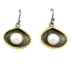 925 silver natural white pearl black rhodium 14k gold earrings a70774 c24237