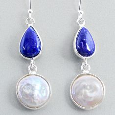 925 silver 13.43cts natural white pearl blue lapis lazuli dangle earrings t37247